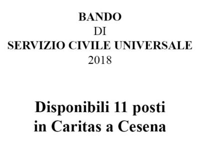bando di servizio civile 2018 - 11 posti disponibili in Caritas a Cesena