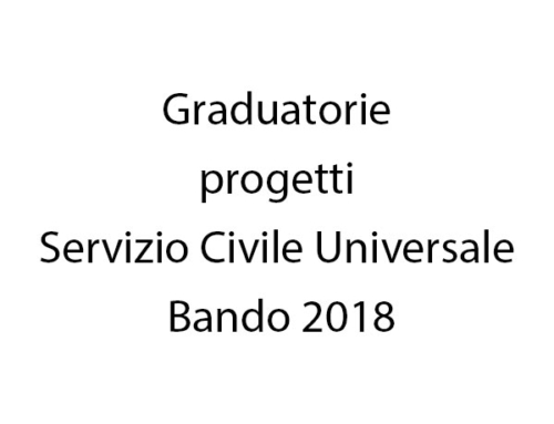Graduatorie progetti Servizio Civile Universale Bando 2018
